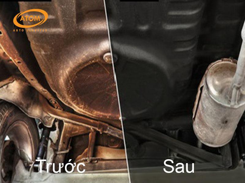 Gầm ô tô trước và sau khi được sơn phủ bảo vệ