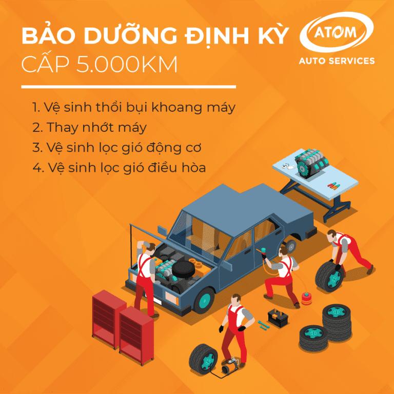 Những hạng mục cần bảo dưỡng ô tô tại mốc 5000km