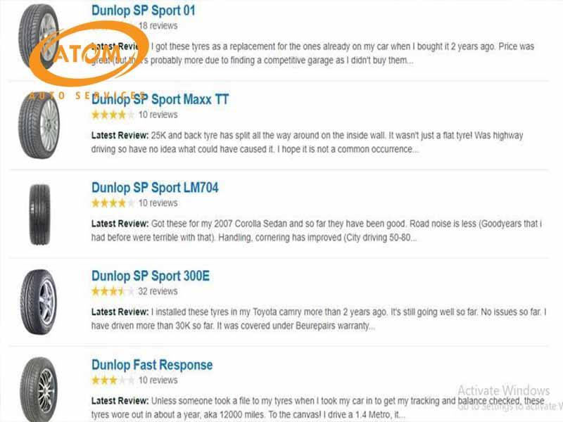 Đánh giá của khách hàng về lốp ô tô Dunlop