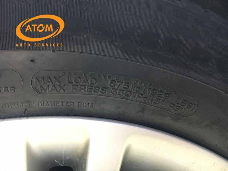 Áp suất tối đa ghi trên lốp xe