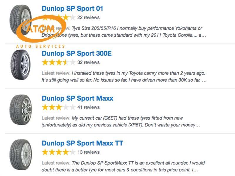 Người dùng đánh giá về lốp ô tô Dunlop trên trang productreview