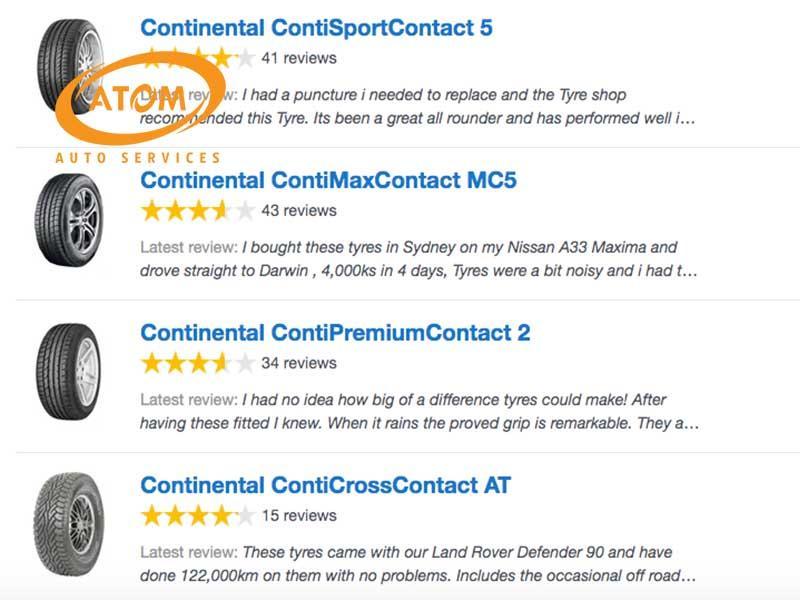 Người dùng đánh giá về lốp ô tô Continental trên trang productreview