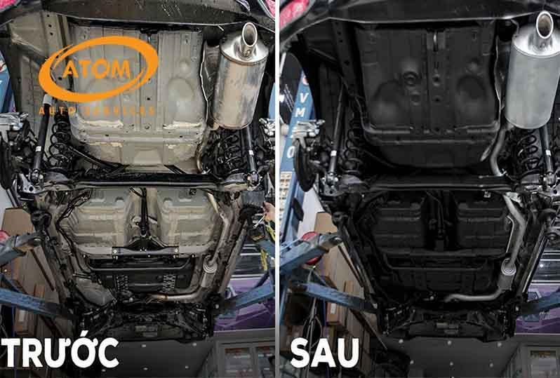Gầm ô tô trước và sau khi được sơn phủ