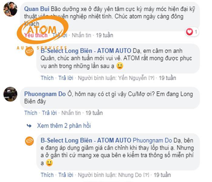 Một số nhận xét của khách hàng đã bảo dưỡng xe tại Atom Auto Services