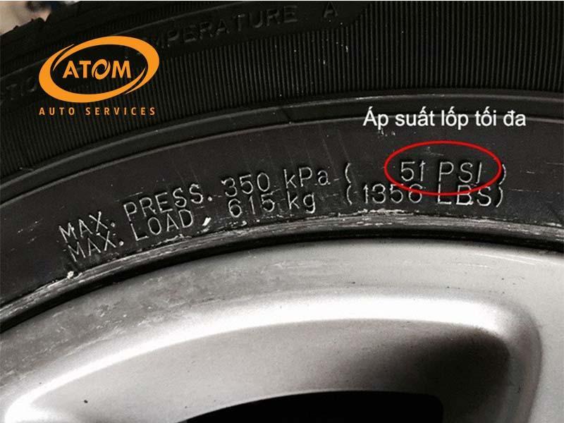 Chỉ số áp suất tối đa của lốp
