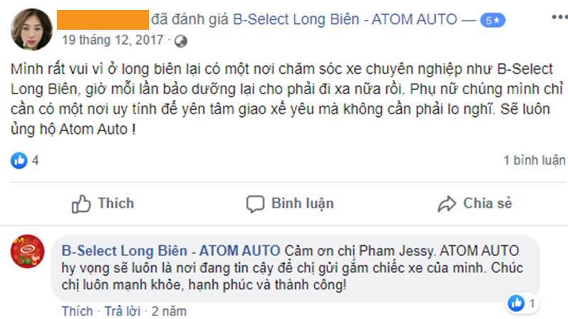 Đánh giá của khách hàng khi sử dụng dịch vụ bảo dưỡng ô tô tại Atom Auto Services