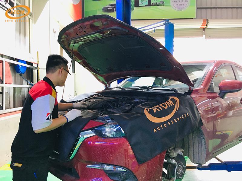 Mazda6 bảo dưỡng định kỳ cấp 5.000km tại ATOM Auto Services