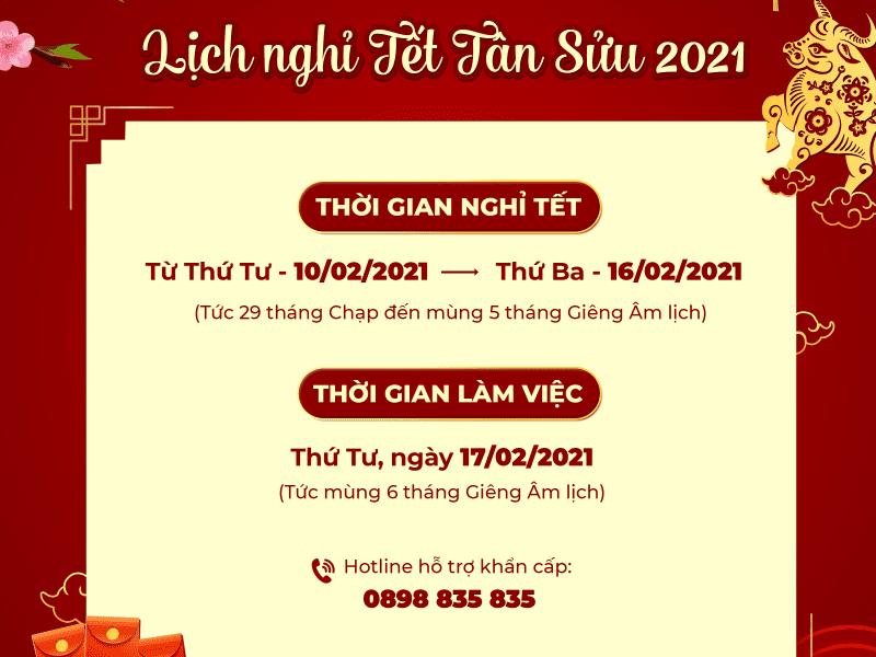 THƯ CHÚC TẾT & THÔNG BÁO NGHỈ TẾT TÂN SỬU 2021